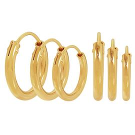 Revere 9ct Gold Plated Sterling Silver Sleeper Hoop Earrings