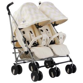 My Babiie Billie Faiers MB22 Chevron Twin Pushchair - Cream