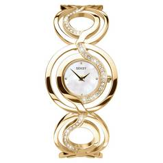 Seksy Ladies' White Dial Gold Colour Bracelet Watch