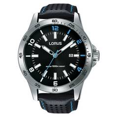 Lorus Men's RH919GX9 Black Leather Strap Sports Watch