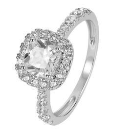 Revere 9ct White Gold Cushion Cut Cubic Zirconia Halo Ring