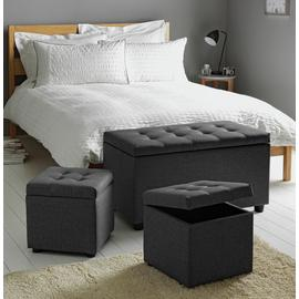 Argos Home Wendover Fabric Ottoman with Stools - Grey
