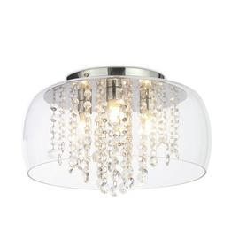 SPA Semi Flush Cloche Bathroom Ceiling Light -Glass & Chrome