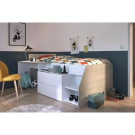 Parisot Cabin Bed, Kids Mattress and Desk - White and Pine