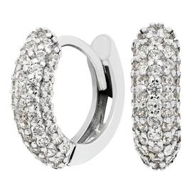 Revere Sterling Silver Cubic Zirconia Pave Huggie Earrings