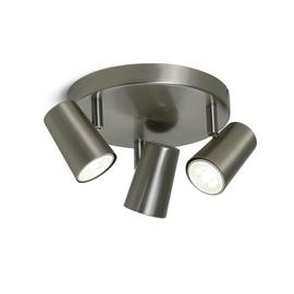 Argos Home Spotlight 3 Light Plate - Brushed Chrome