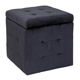 Argos Home Small Velvet Ottoman - Black