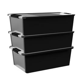 Curver Bi-Box Set of 3 26L Storage Boxes - Black