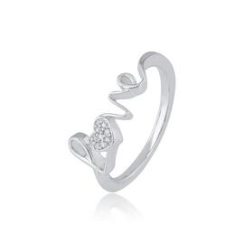 Revere Sterling Silver 0.03ct tw Diamond Love Ring