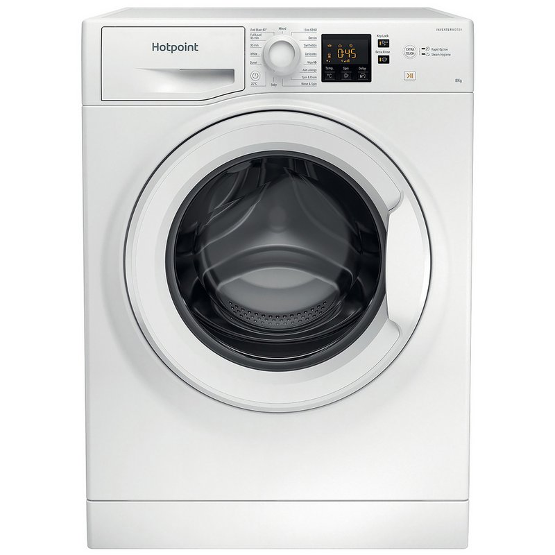Hotpoint NSWM843CW 8KG 1400 Spin Washing Machine - White from Argos