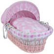 more details on Clair de Lune Rabbits Pink Wicker Moses Basket