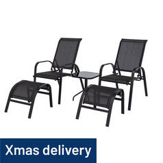 Argos Home Sicily 2 Seater Metal Bistro Set with Footrests