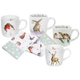 Royal Worcester Set of 4 Wrendale Christmas Mugs & Tea Towel