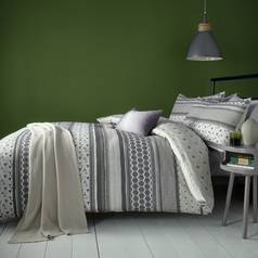 Fusion Retrace Stripe Charcoal Bedding Set - Double