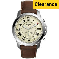 Fossil Q Grant Hybrid Men's Brown Leather Smart Watch