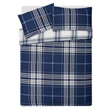 HOME Blue Check Bedding Set - Double