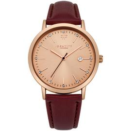 Identity London Ladies' Stone Set Dial Burgundy Strap Watch