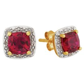 Revere 9ct Yellow Gold Ruby & Diamond Cluster Stud Earrings