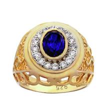 Revere Men's Gold Plated Silver Created Sapphire and CZ Ring