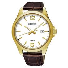 Seiko Men's Gold Plated Brown Leather Strap Three Hand Watch