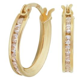 Revere 9ct Yellow Gold Cubic Zirconia Huggie Hoop Earrings