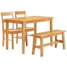 Argos Home Chicago Dining Table, Bench & 2 Chairs - Natural