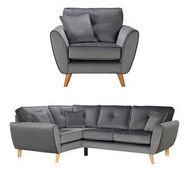 Argos Home Isla Velvet Chair & Right Corner Sofa - Grey
