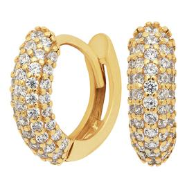Revere 9ct Gold Plated Silver Pave Set Huggie Earrings