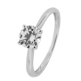 Revere 9ct White Gold Cubic Zirconia Solitaire Ring
