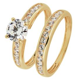 Revere 9ct Gold Cubic Zirconia Solitaire Bridal Ring Set