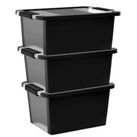 Curver Bi-Box Set of 3 11L Storage Boxes - Black
