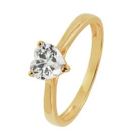 Revere 9ct Gold Heart Cut Cubic Zirconia Solitaire Ring