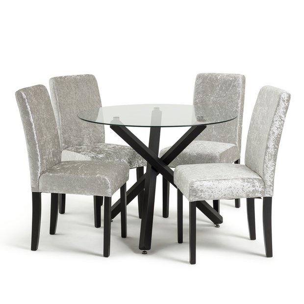 Buy Argos Home Ava Glass Dining Table 4 Velvet Chairs Silver Dining Table And Chair Sets Argos