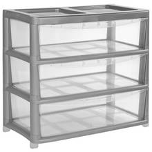 Argos Home 3 Draw Gloss Wide Tower Storage Unit - Silver