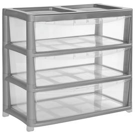 Argos Home Gloss Wide Plastic Storage 3 Drawer - Silver