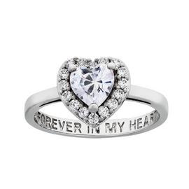 Moon & Back Sterling Silver 'Forever In My Heart' Ring