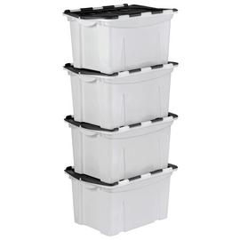 Argos Home 40 Lt Black Crocodile Lid Storage Boxes- Set of 4