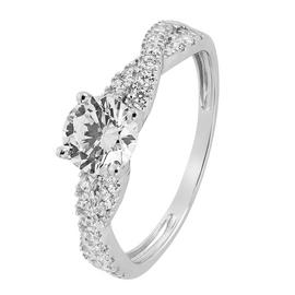 Revere 9ct White Gold Cubic Zirconia Twist Shoulder Ring