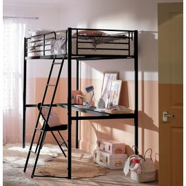 Argos Home Riley High Sleeper Metal Bed Frame and Desk-Black