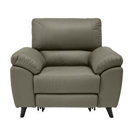 Argos Home Elliot Leather Mix Power Recliner Chair - Grey