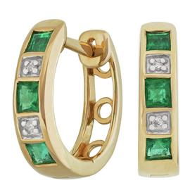 Revere 9ct Yellow Gold Emerald and Diamond Hoop Earrings