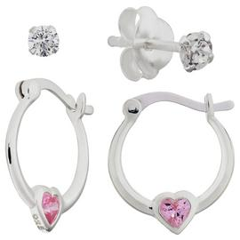 Revere Kid's Silver Pink CZ Creole and Stud Earring Set