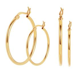 Revere 9ct Gold Plated Sterling Silver Hoop Earrings