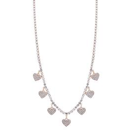 Lipsy Rose Gold Plated Crystal Heart Charm Pendant Necklace