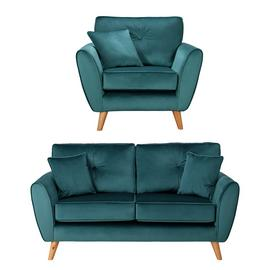 Argos Home Isla Velvet Chair & 2 Seater Sofa - Teal