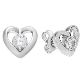 Revere Sterling Silver Open Heart Cubic Zirconia Earrings