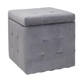 Argos Home Small Velvet Ottoman - Grey