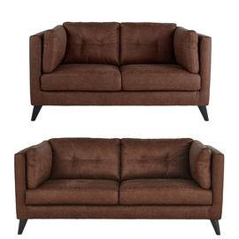 Argos Home Charlie Faux Leather 2 Seater & 3 Seater Sofa-Tan