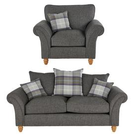 Argos Home Edison Fabric Chair & 2 Seater Sofa - Charcoal