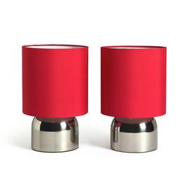 Argos Home Pair of Touch Table Lamps - Chrome and Red